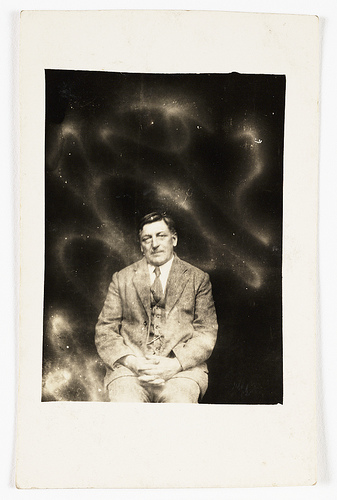 William Hope, Man surrounded by signs of spirit presence. Taken some time in 1920.