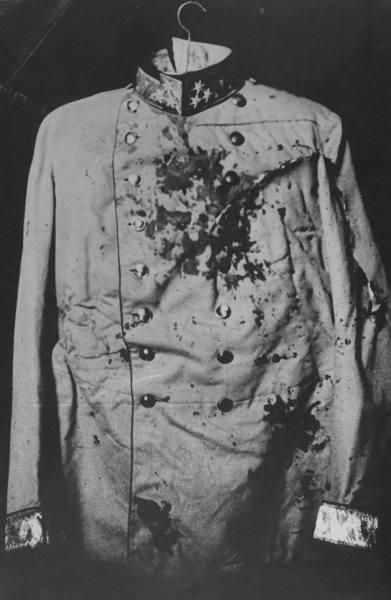 Bloodstained coat worn by Yugoslav Archduke Franz Ferdinand when he was slain by Gavrilo Prinzip in 1914, assassination triggering World War I, 1914